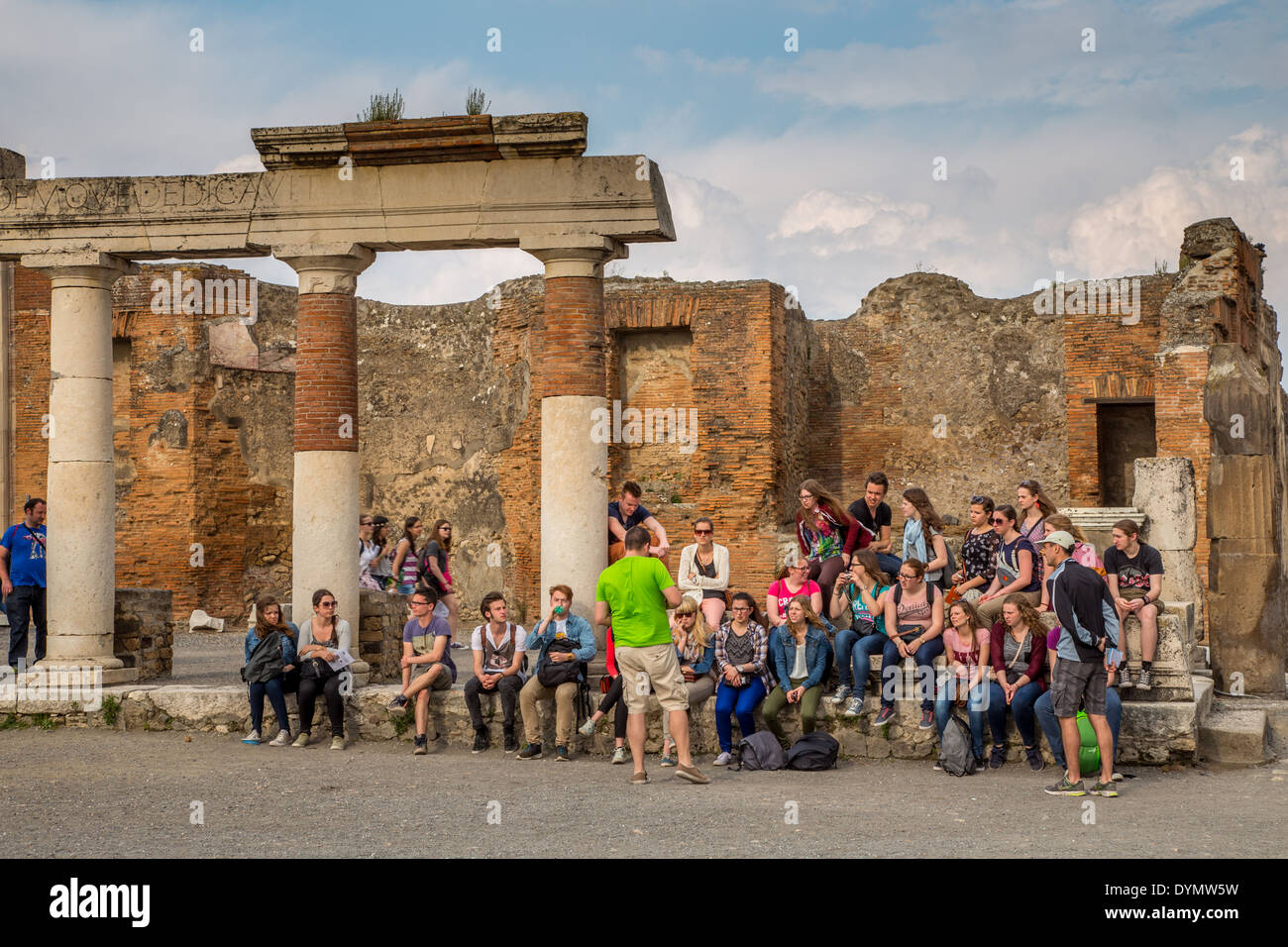 School trip to the ruins of the Roman city of Pompeii, Italy - Stock Image