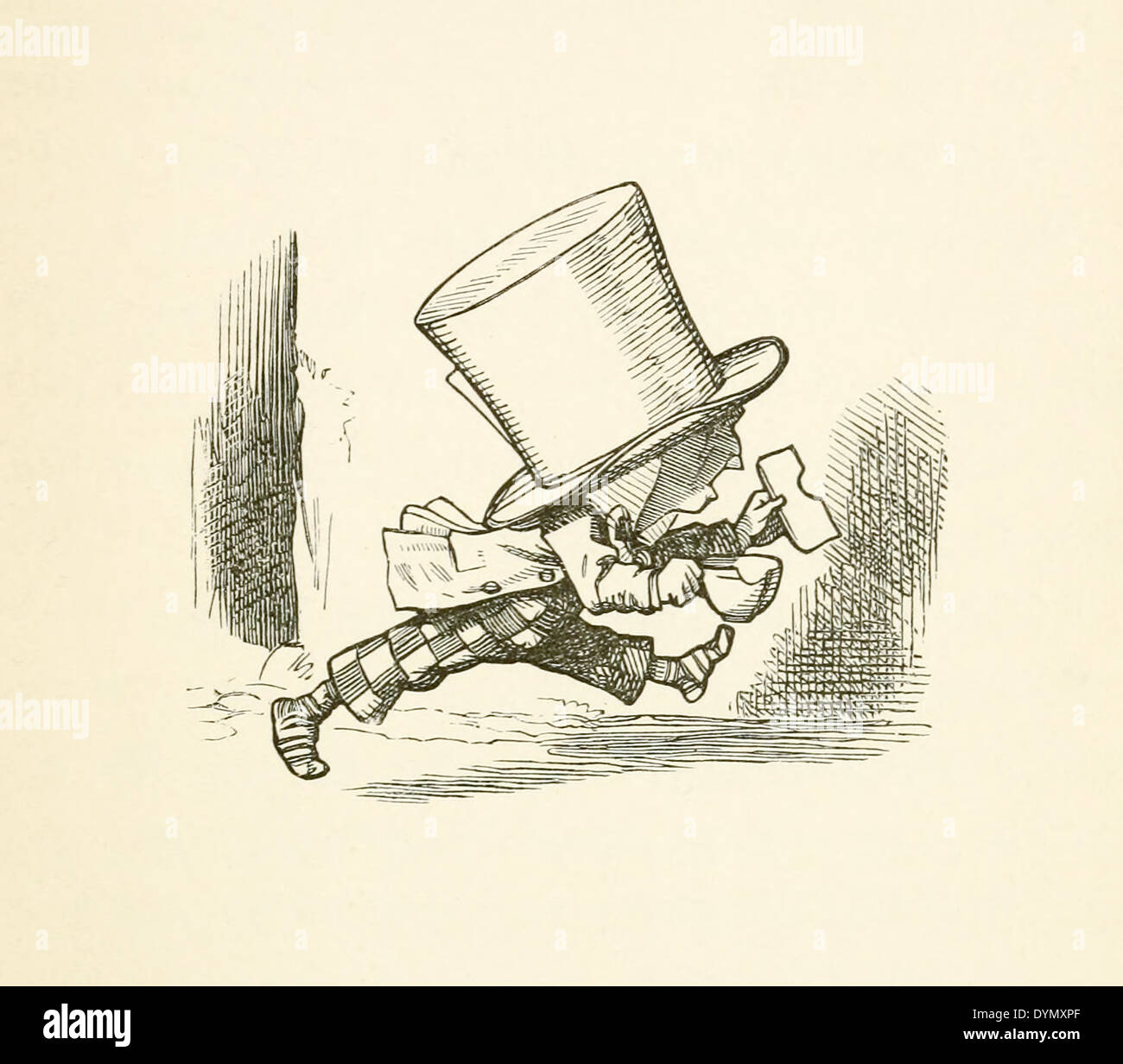 John Tenniel  (1820-1914) illustration from Lewis Carroll's 'Alice in Wonderland' published in 1865. The Hatter. - Stock Image