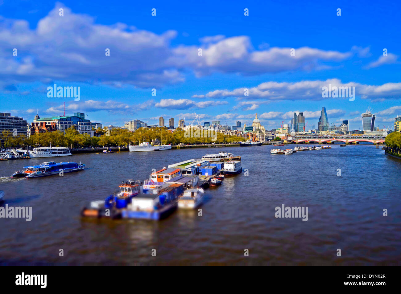 The City of London skyline showing the River Thames, as seen from Waterloo Bridge, London, England, United Kingdom Stock Photo