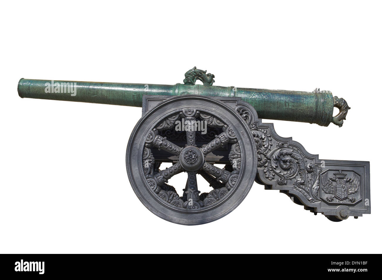 Ancient cannon on wheels isolated on white - Stock Image