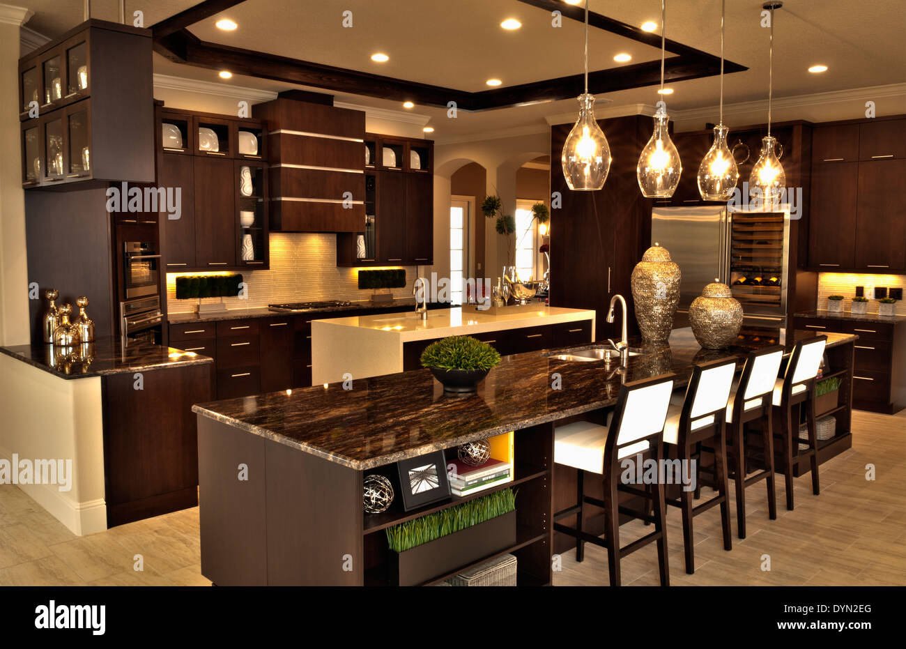kitchen in luxury home with oak cabinets stock photo   Interior luxury kitchen in home in Windermere, Florida ...