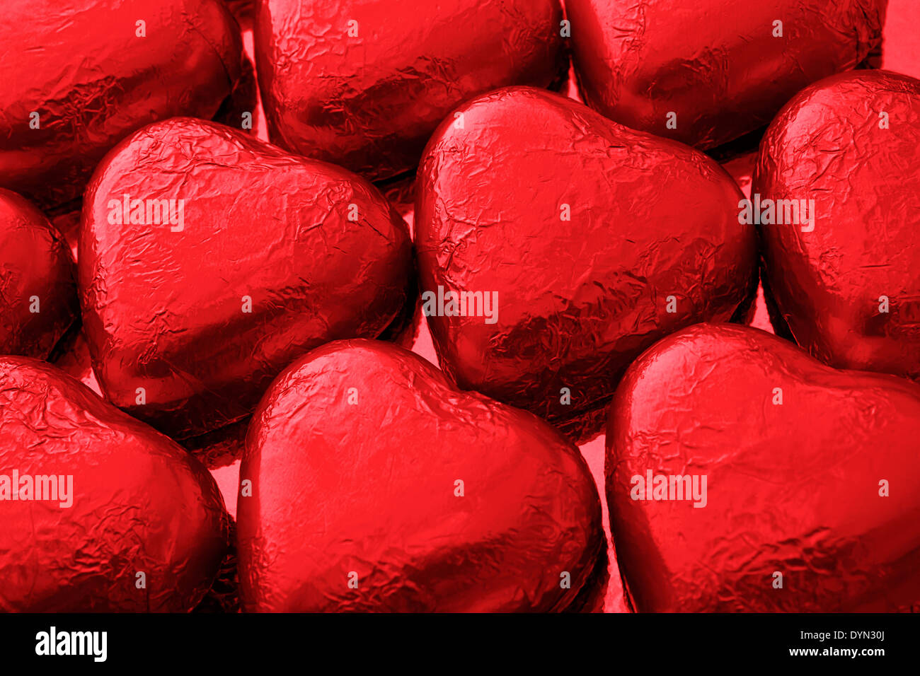 Red chocolate love hearts a great gift from a luxury chocolatier for saint valentines day - Stock Image