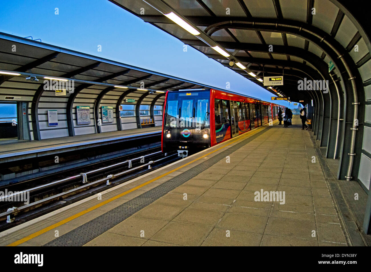 Pontoon Dock Docklands Light Railway (DLR) Station, Silvertown Quays, London, England, United Kingdom - Stock Image