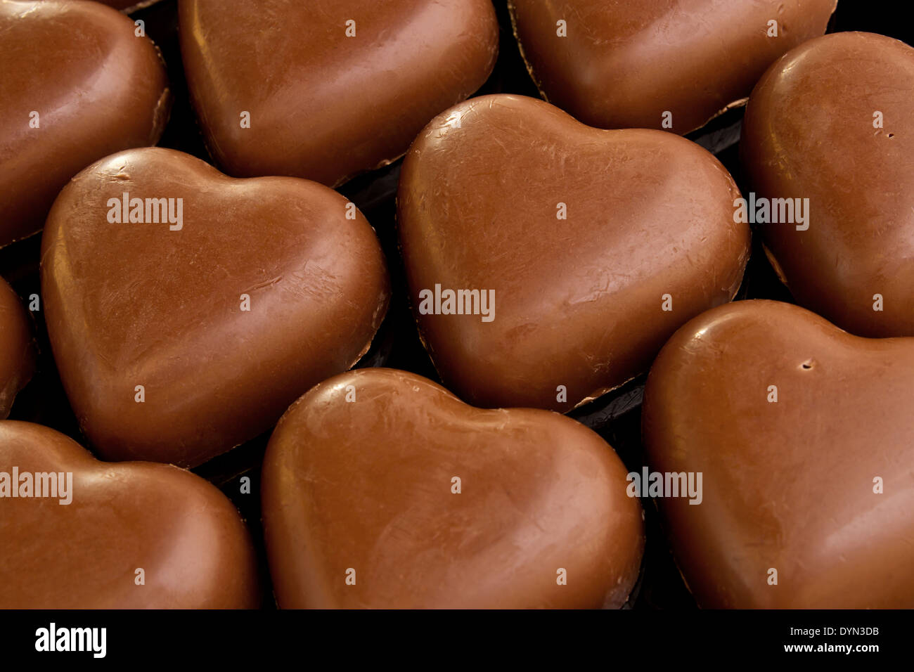 Chocolate love hearts a great Valentines day gift - Stock Image