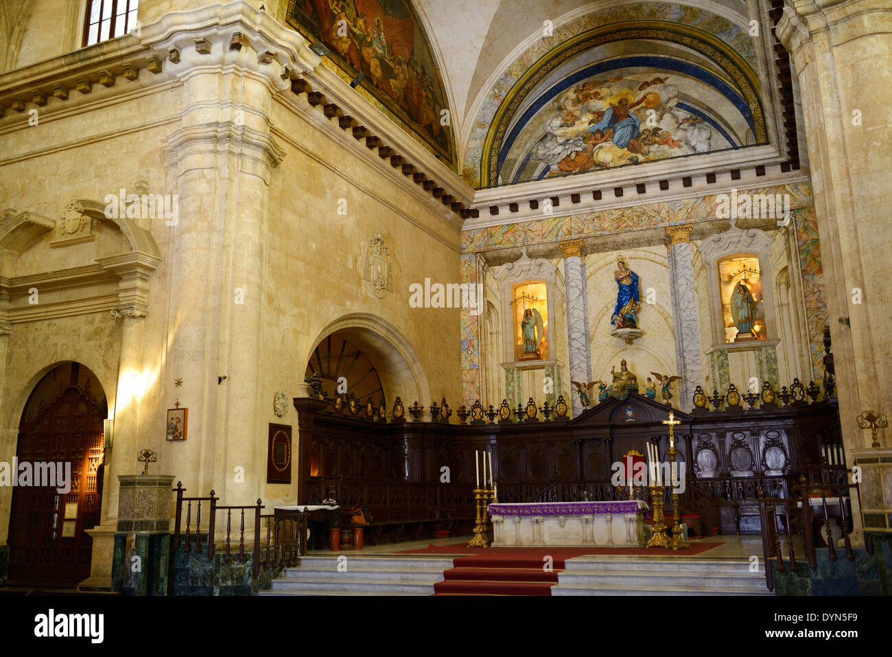 Altar sanctuary in the Havana Roman Catholic Cathedral with the Virgin Mary of the Immaculate Conception Cuba - Stock Image