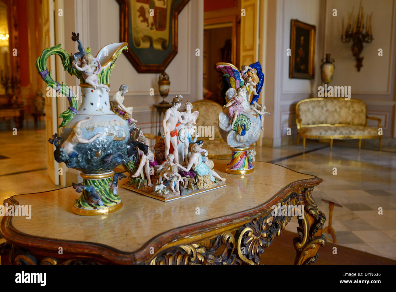 Fine Porcelain figurines with opulent Colonial furnishing at the Governors Palace museum Old Havana Cuba - Stock Image