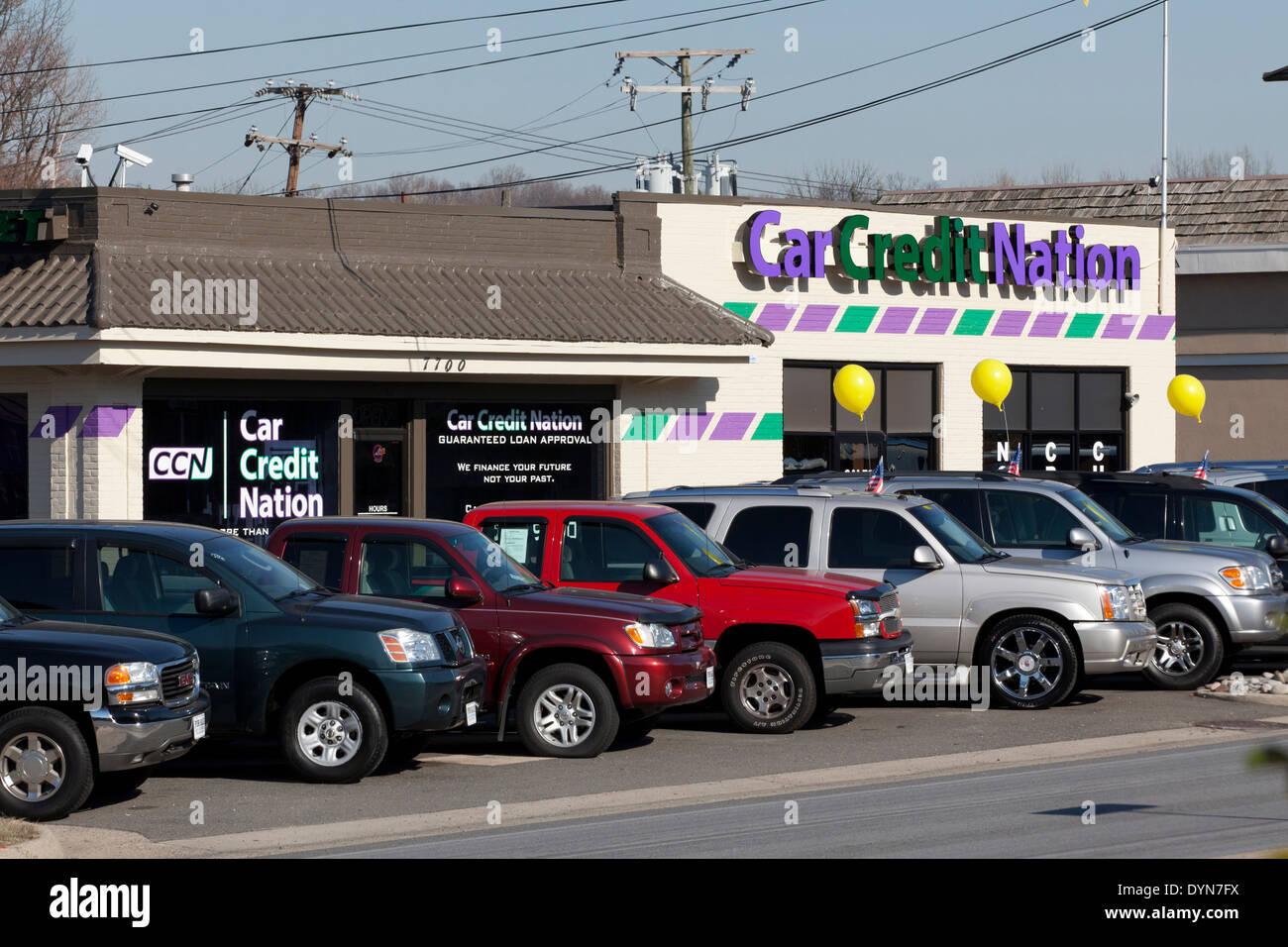 Car Credit Nation used car dealer - Falls Church, Virginia USA - Stock Image