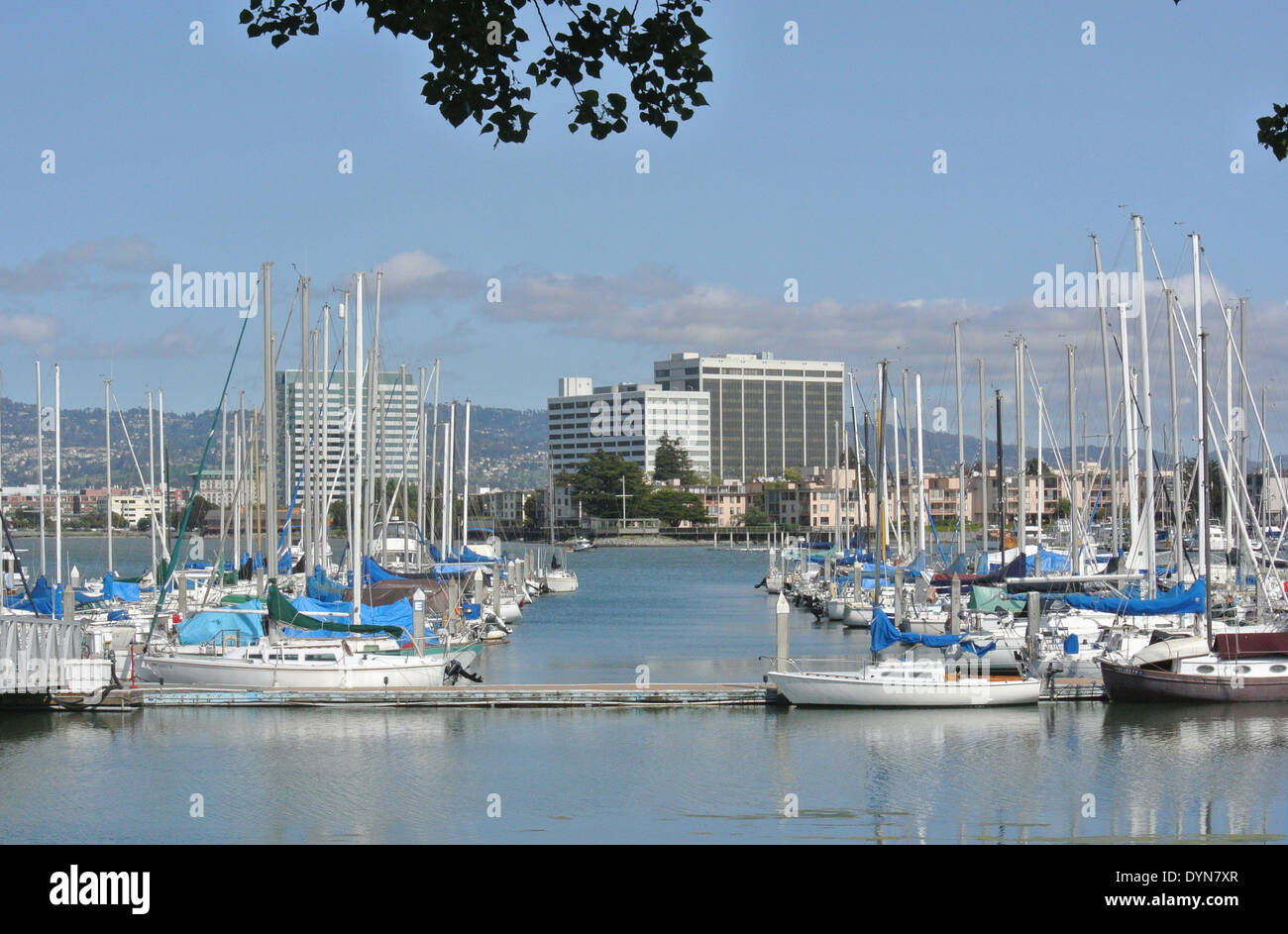 view of Emeryville marina and berkeley hills - Stock Image