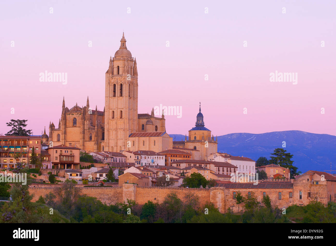 Cathedral, Segovia, Cathedral at Sunset, Castilla-Leon, Spain - Stock Image