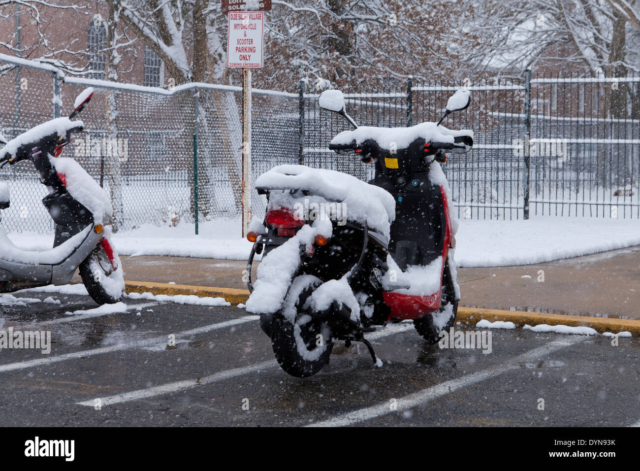 Snow covered parked moped - Stock Image