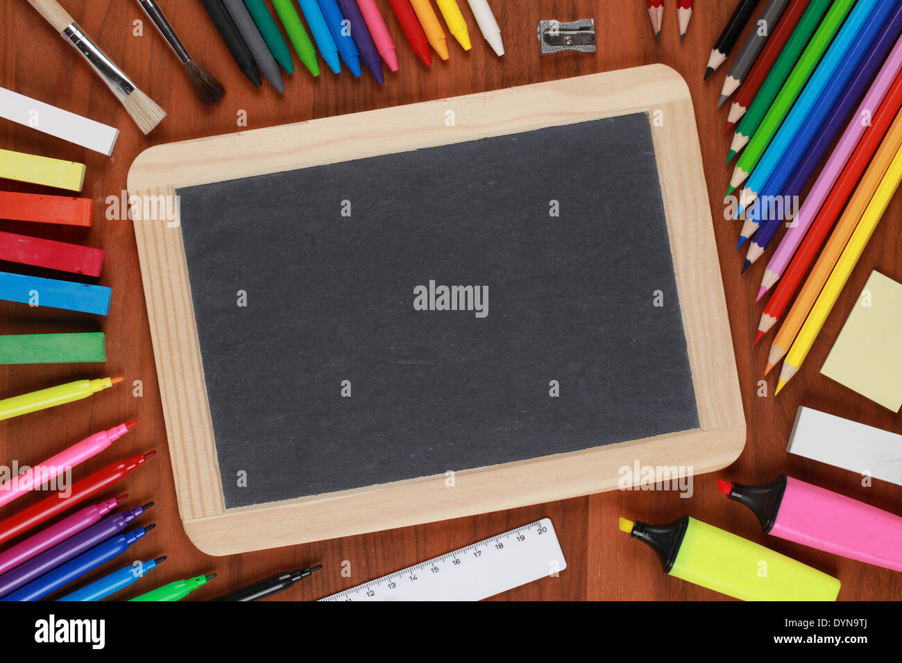 Empty black chalkboard with copyspace for your own text - Stock Image