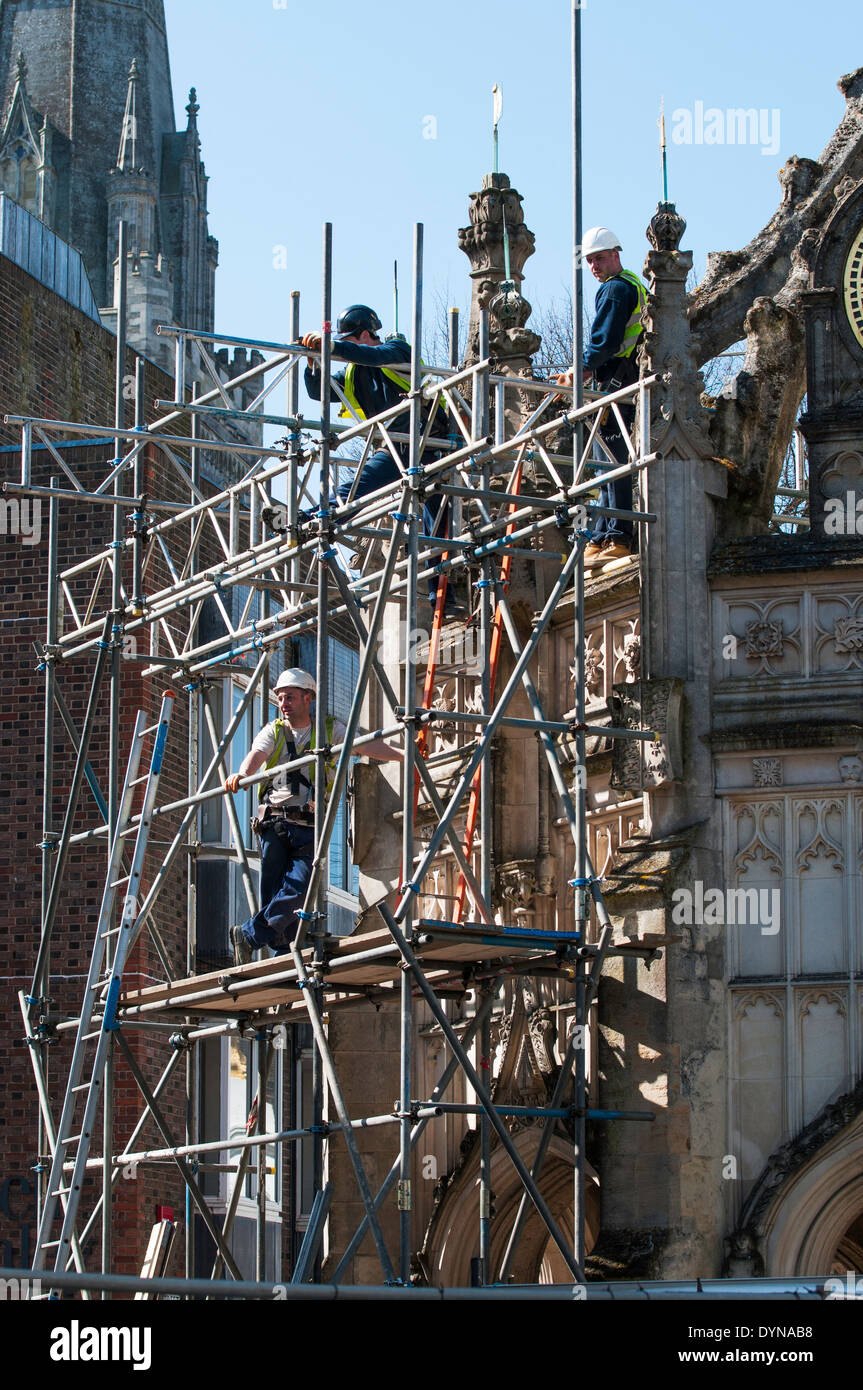 The Market Cross , Chichester, West Sussex UK with scaffolding for repairs following storm damage - Stock Image