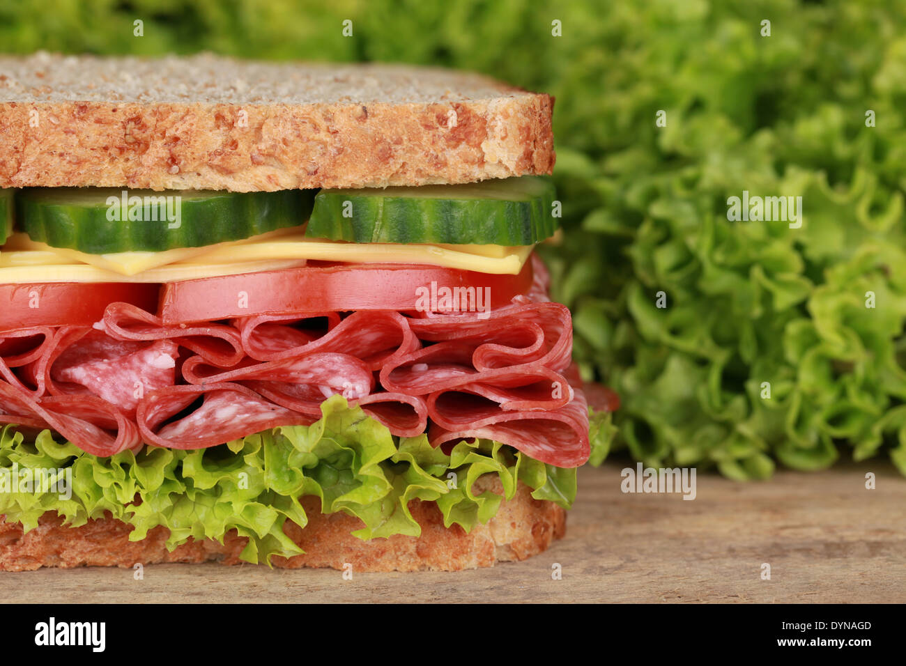 Fresh sandwich with pepperoni, cheese, tomatoes, lettuce and cucumber, lots of copyspace - Stock Image