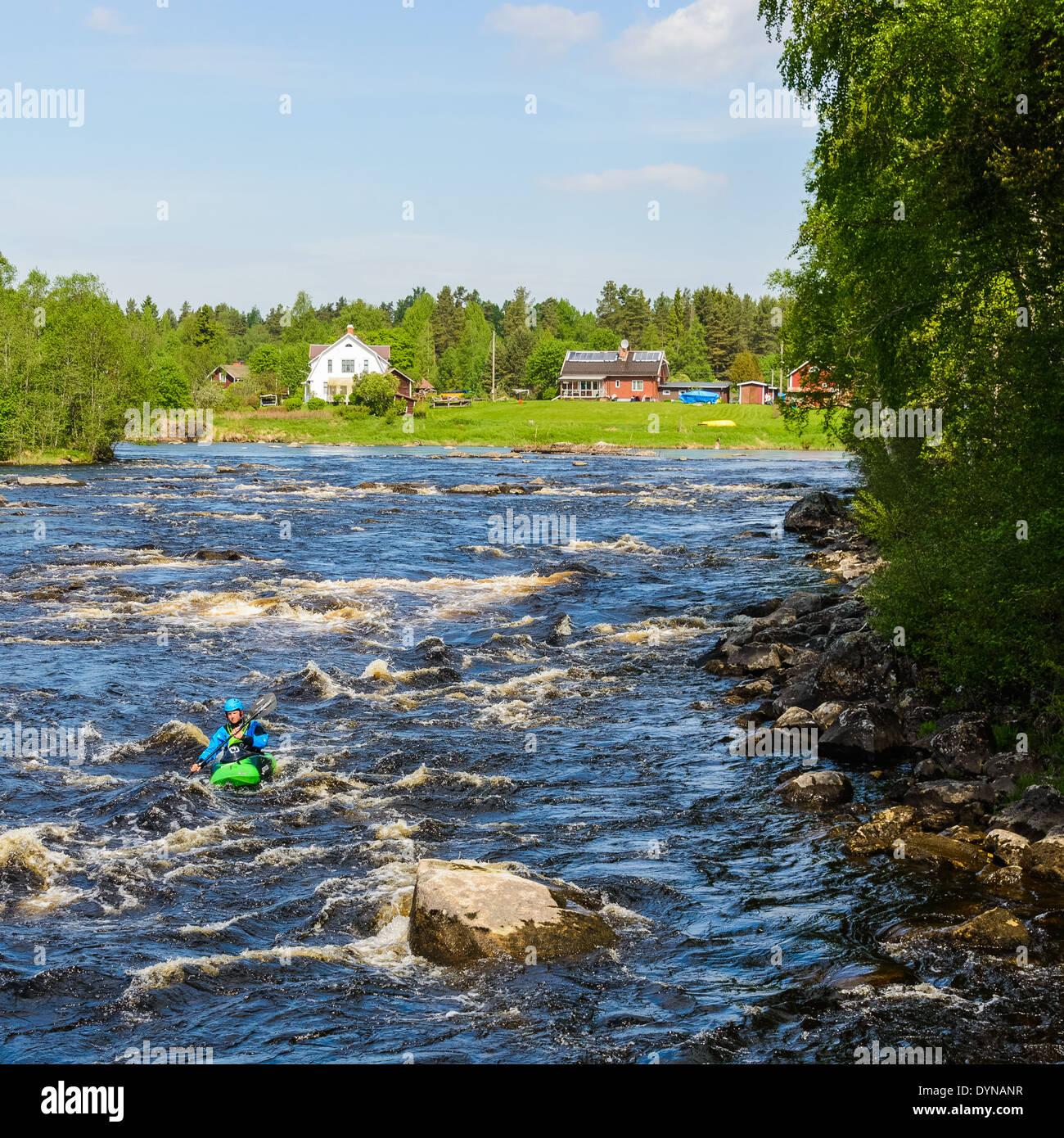 Kayaking on rapid river, Sweden - Stock Image