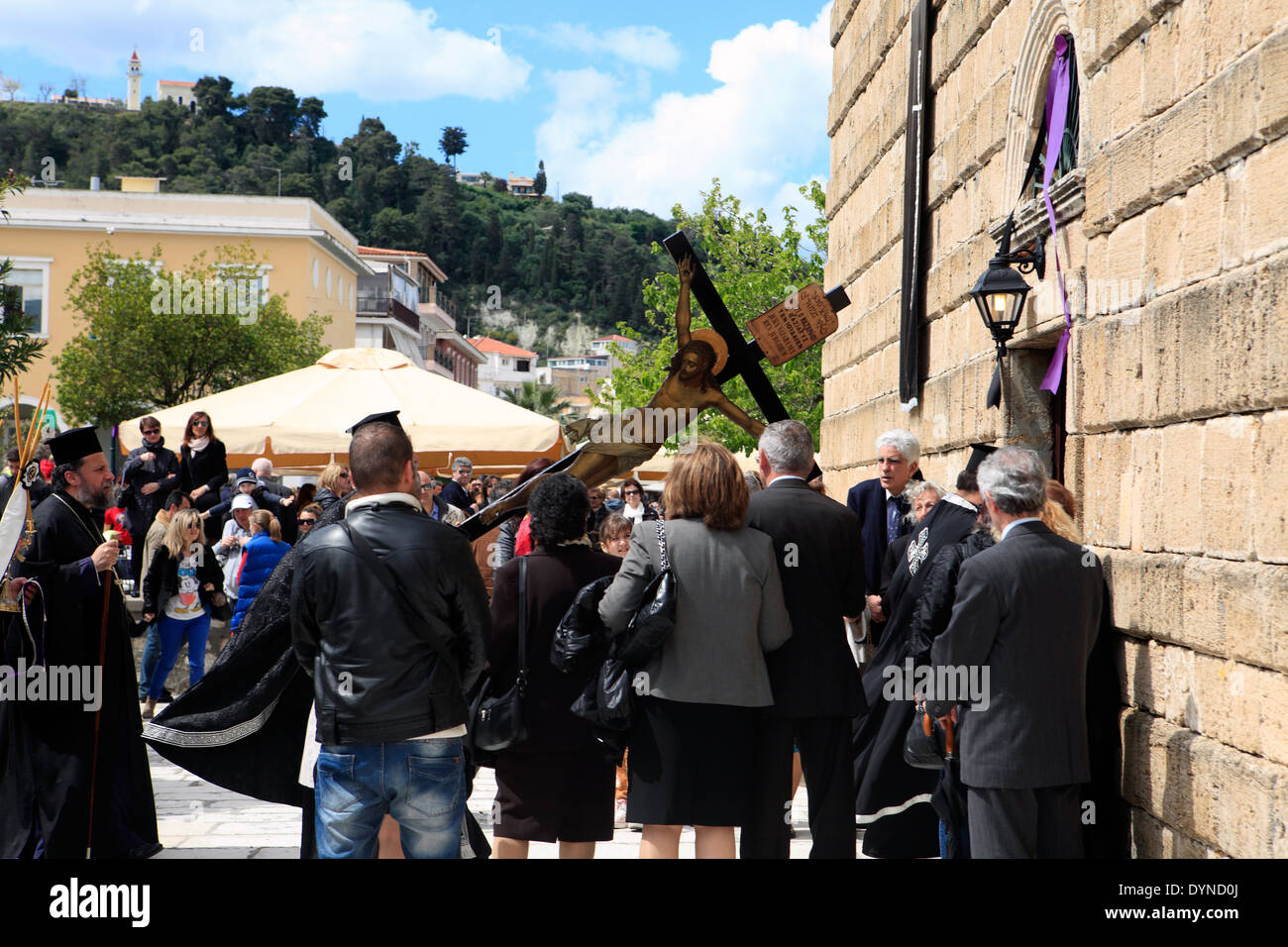 greece ionian zakynthos island easter good friday religious procession - Stock Image