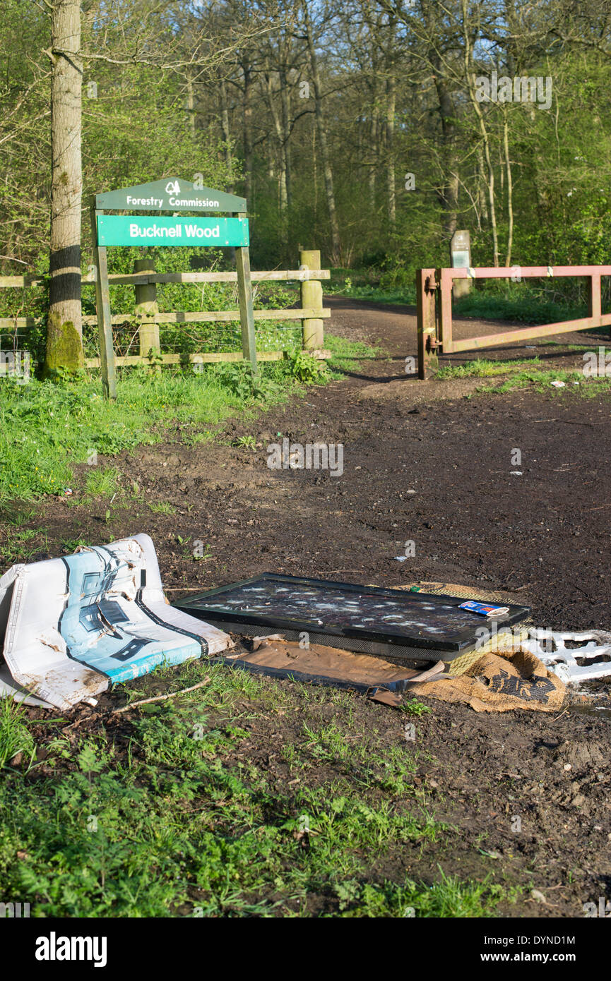 Flat screen TV fly tipped on the edge of a woodland. Northhamptonshire. England - Stock Image