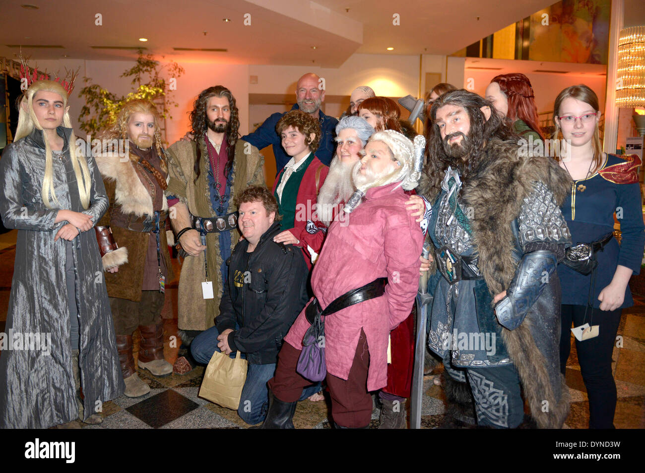 New Zealand actor Stephen Hunter and Scottish actor Graham McTavish pose with fans at the HobbitCon 2 convention Stock Photo