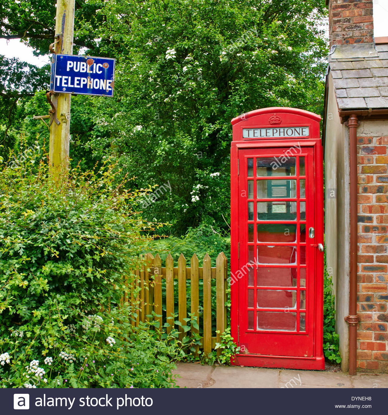 old fashioned red public telephone box in st fagans museum of welsh like south wales uk - Stock Image