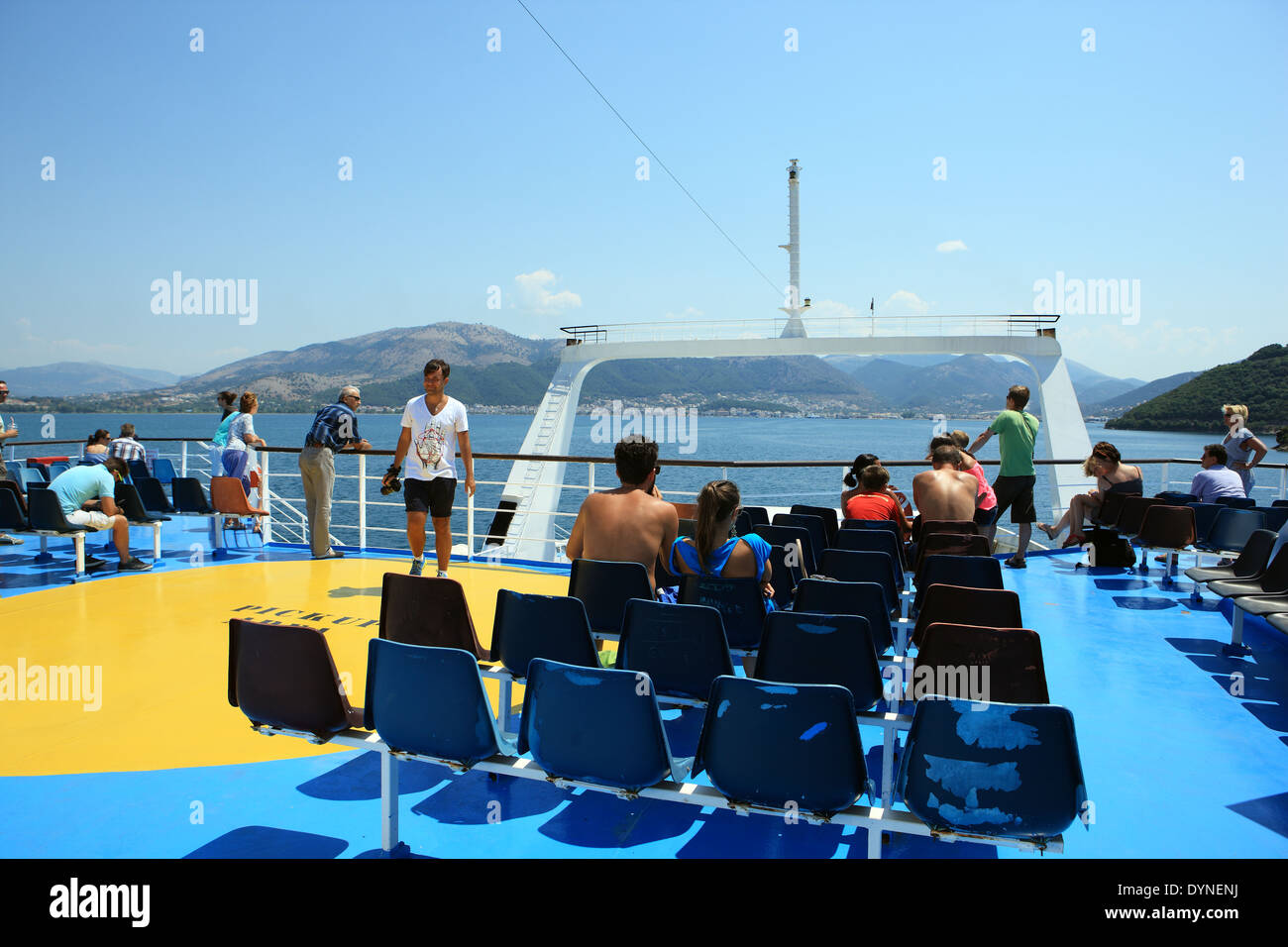 Greek ferry from Corfu about to arrive in the Greek mainland port of Igoumenitsa - Stock Image