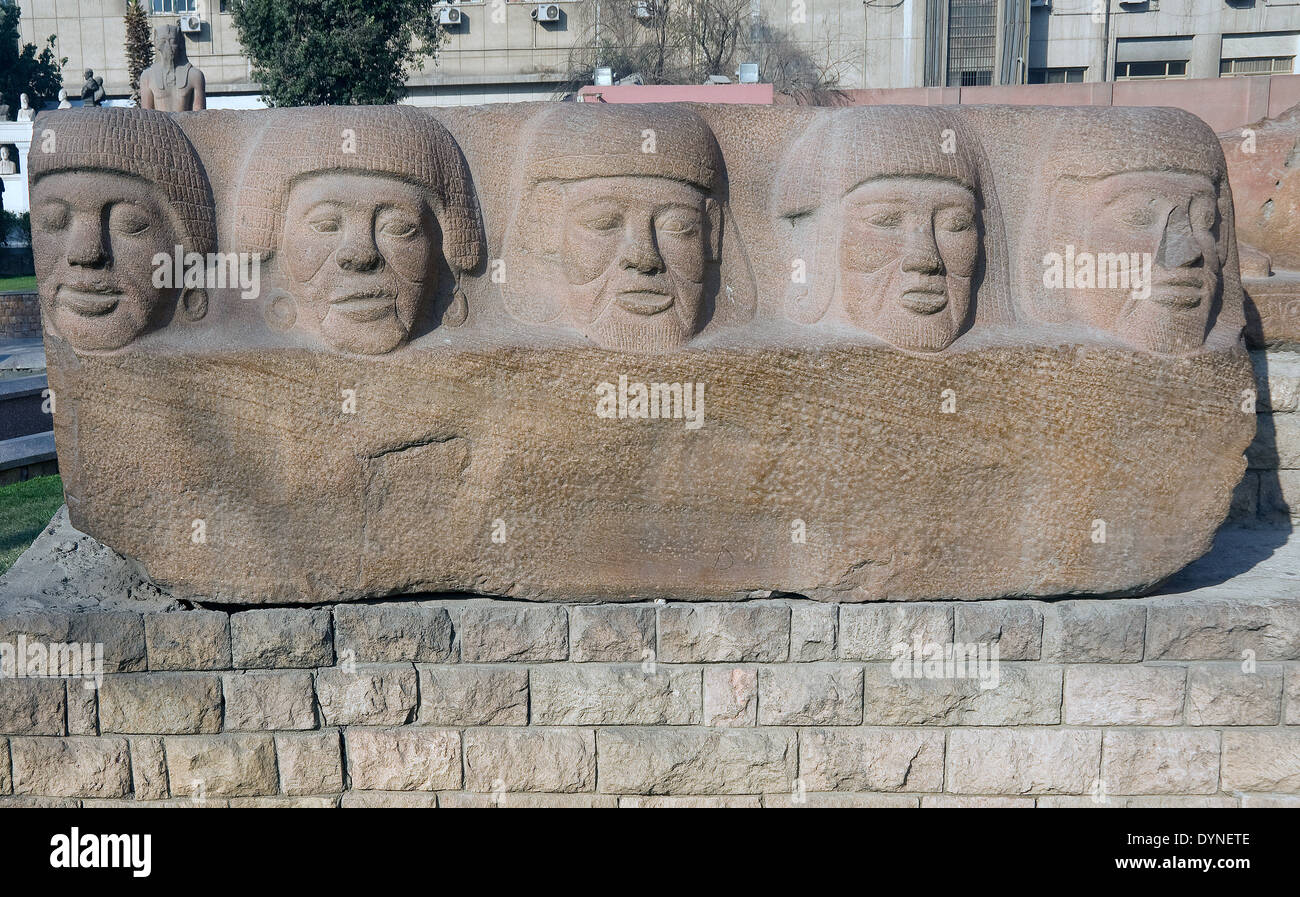 Egyptian Museum of Cairo.A lintel of won enemies. - Stock Image