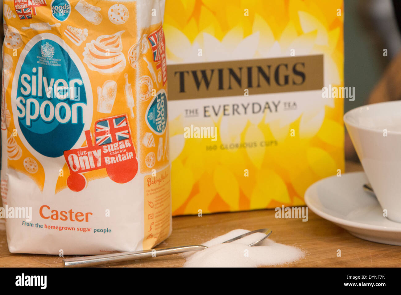 Silver Spoon and Twinings tea, two well known brands of AB Foods - Stock Image