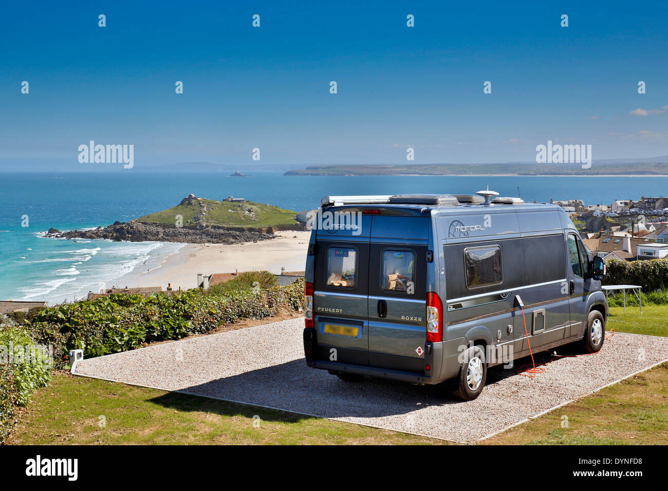 Ayr Campsite; St Ives; Looking Across St IVes Bay to Godrevy; Cornwall; UK - Stock Image