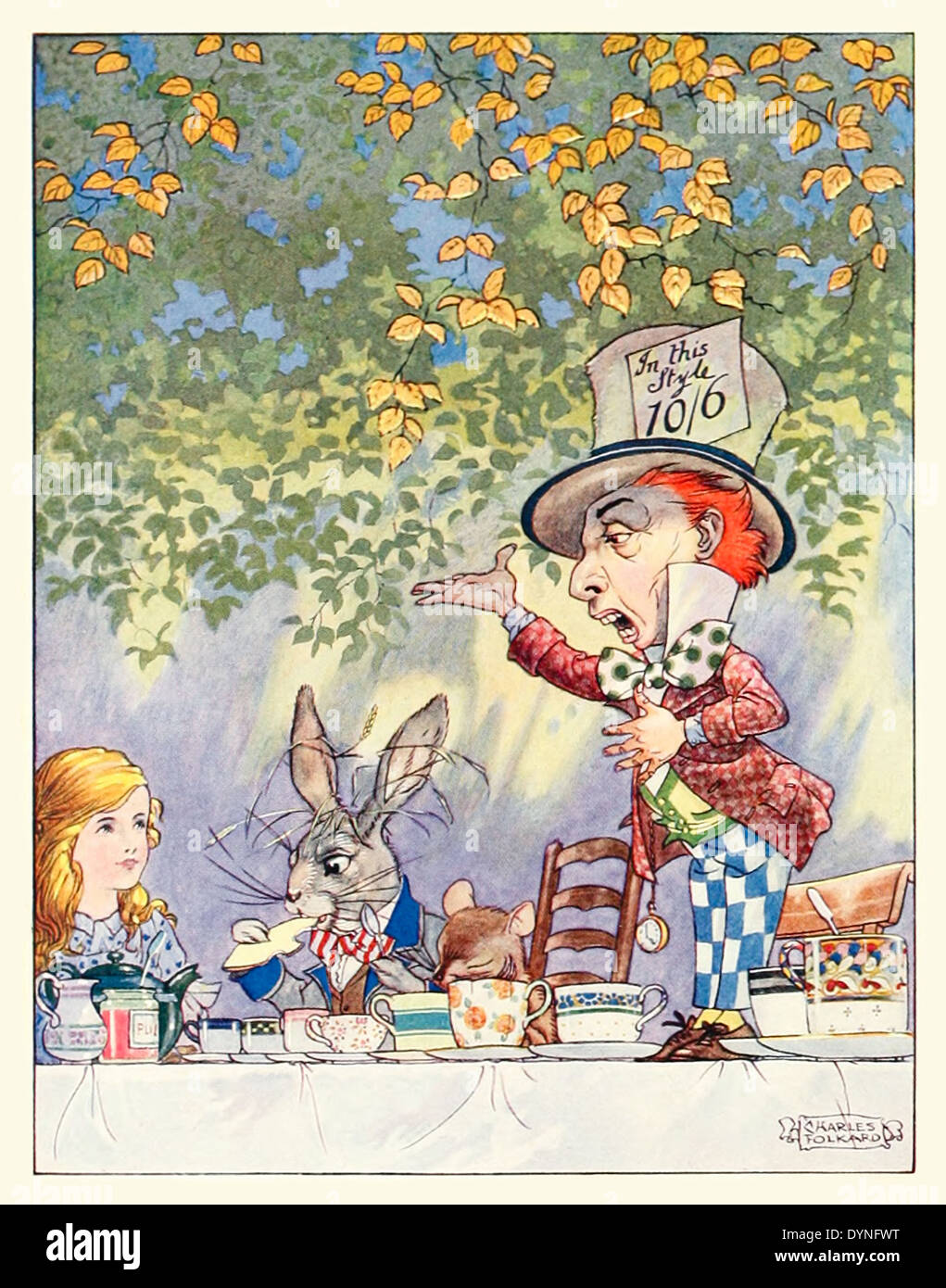 Frontispiece showing the Hatter's tea party from Lewis Carroll's 'Songs from Alice in Wonderland and Through the Looking-Glass' illustrated by Charles James Folkard (1878-1963). See description for more information - Stock Image