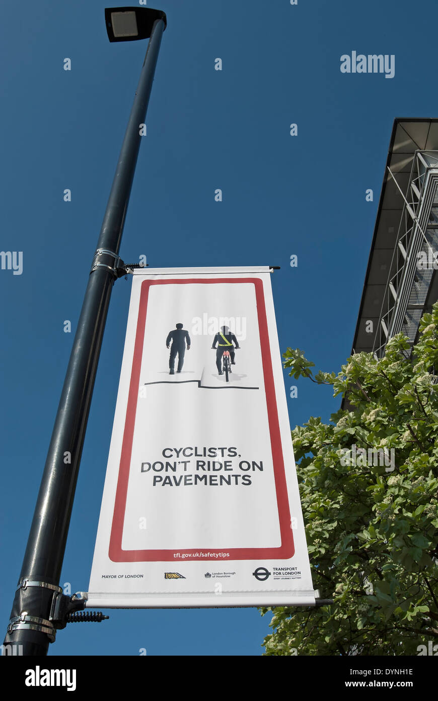 cyclists don't ride on pavements poster, hounslow, middlesex, england - Stock Image