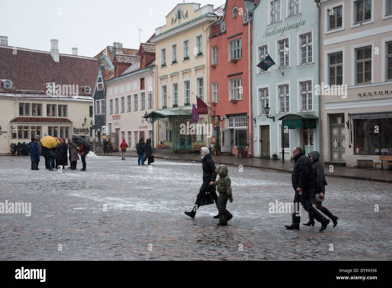 A cold wet day in the old town in Tallinn Estonia - Stock Image