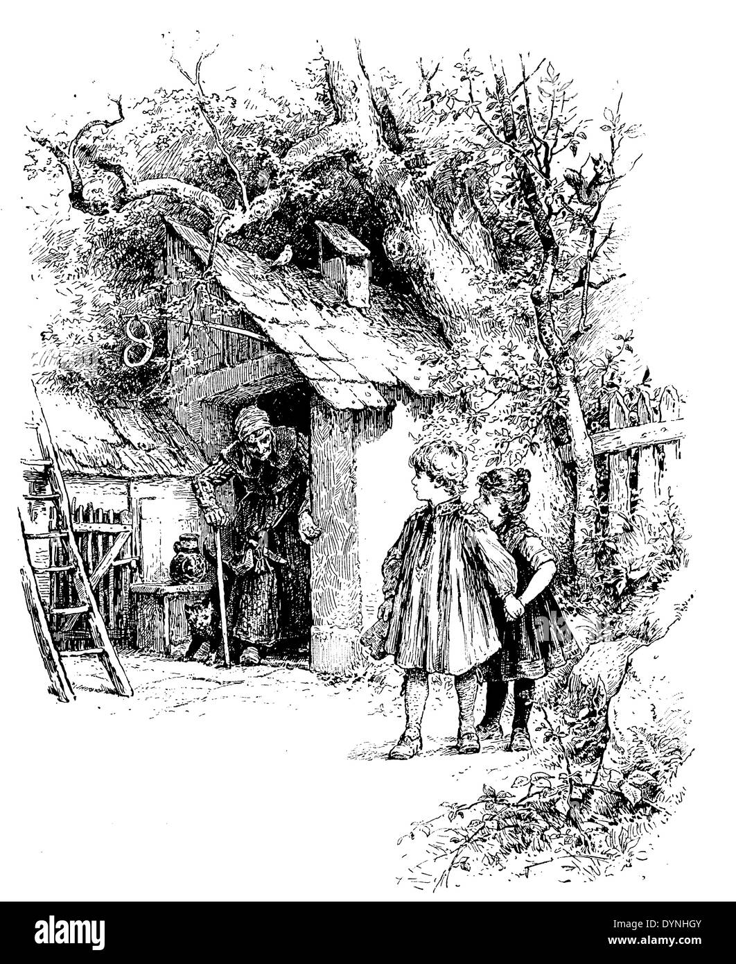 Hanse land Gretel are lured into the house of the witch, Grimm's Fairy Tales - Stock Image