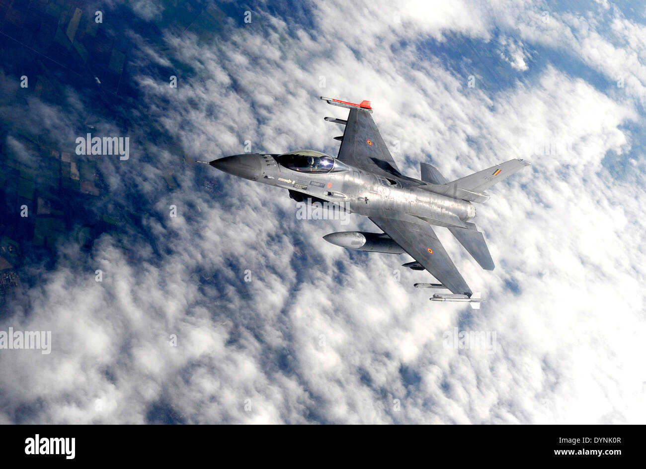 A Belgian F-16 Fighting Falcon aircraft during exercise Brilliant Arrow September 21, 2011 over Germany. - Stock Image