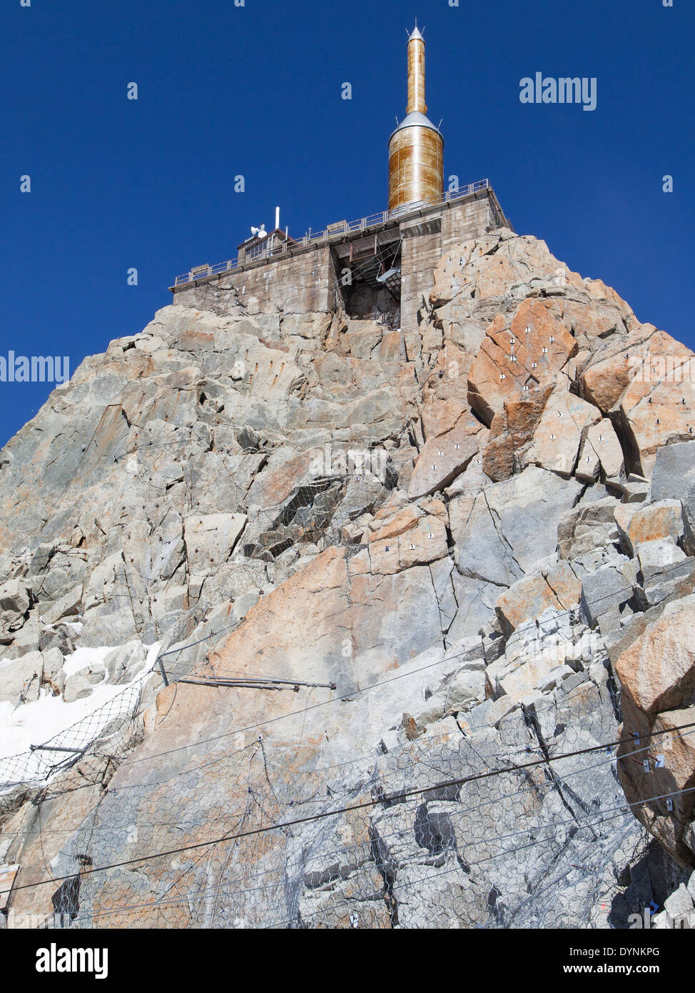 Summit of the Aiguille du Midi at 3842 meters high in the French Alps. - Stock Image