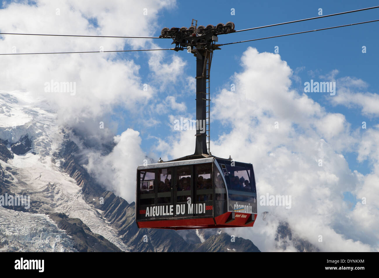 Cable Car to the summit of the Aiguille du Midi from Chamonix-Mont-Blanc, France. - Stock Image