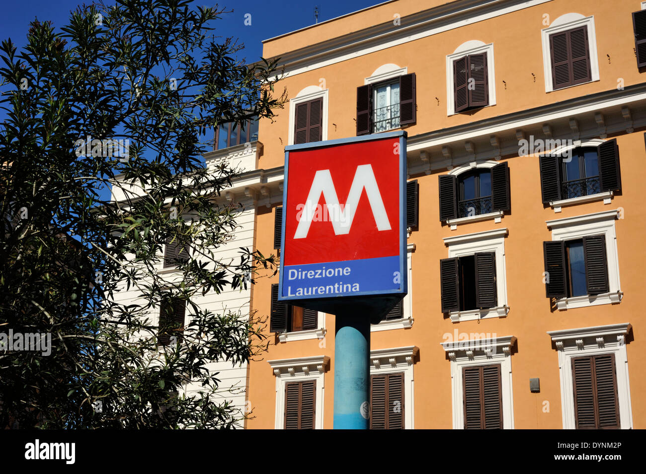 italy, rome, via Cavour, metro sign - Stock Image