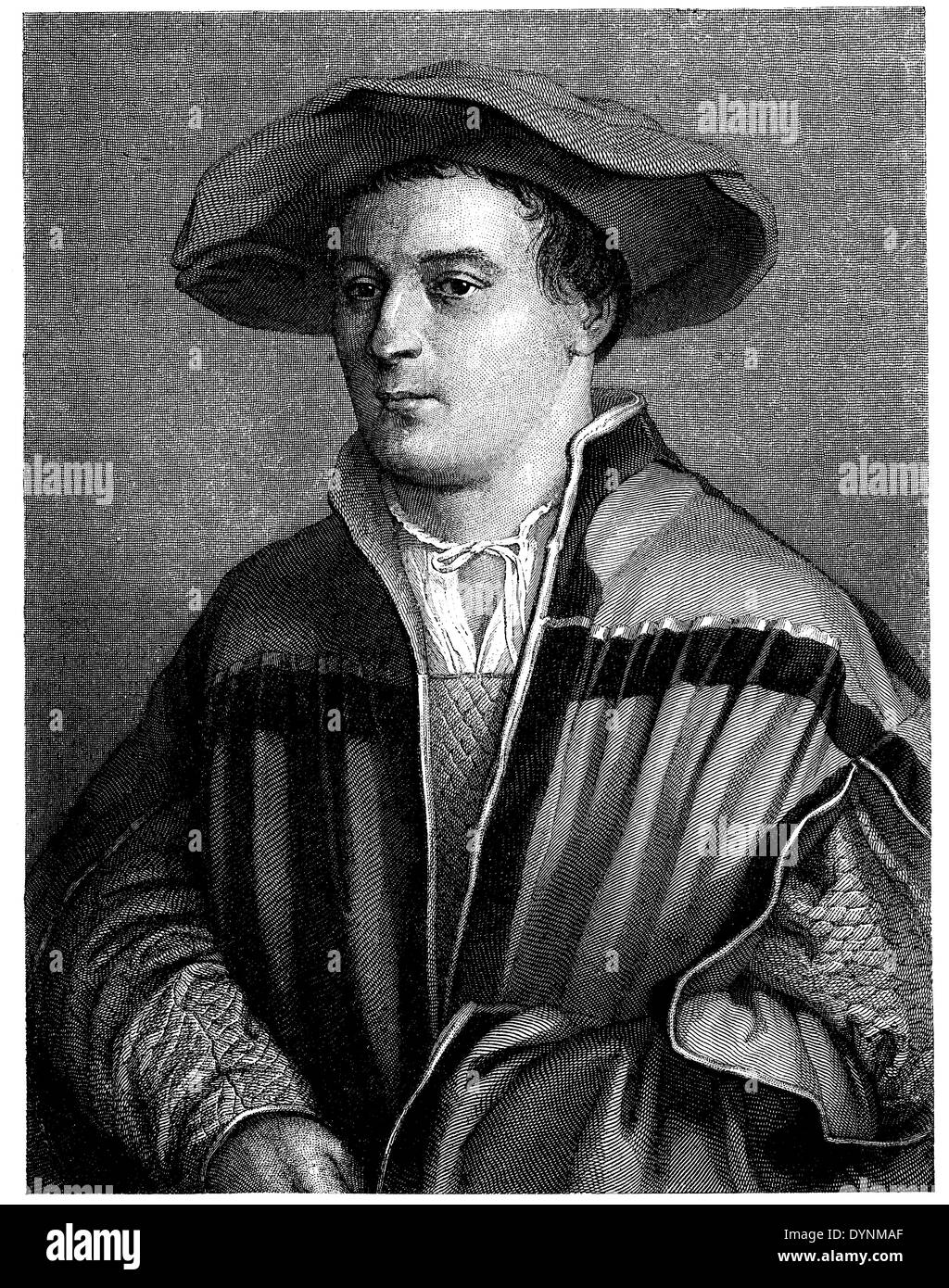 Hans Holbein the Younger. After a self-portrait engraved by Friedrich Weber - Stock Image