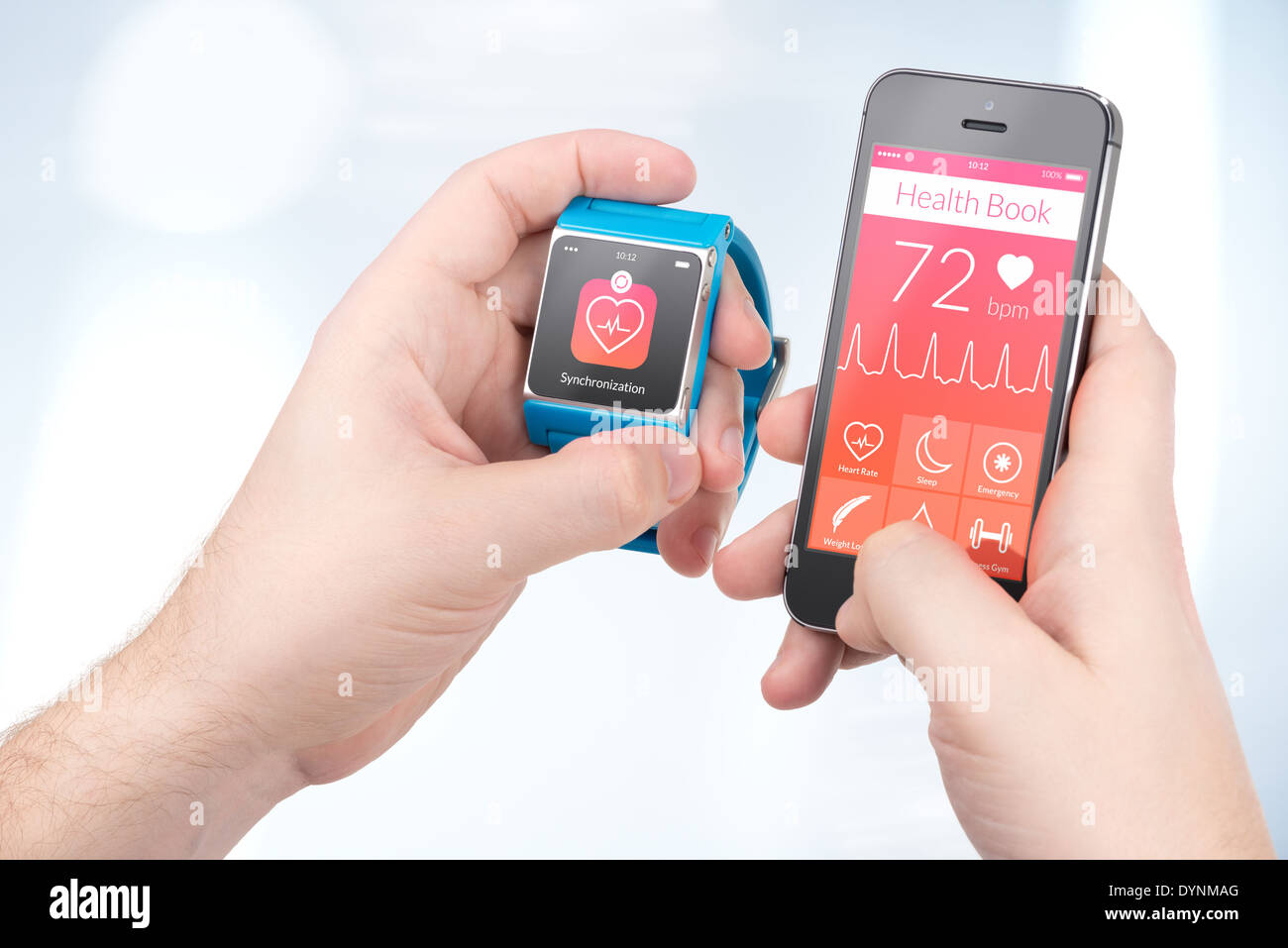 Data synchronization of health book between smartwatch and smartphone in male hands - Stock Image