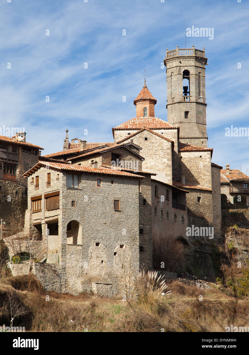 Church of Sant Miquel of Rupit, Barcelona province, Catalonia. - Stock Image