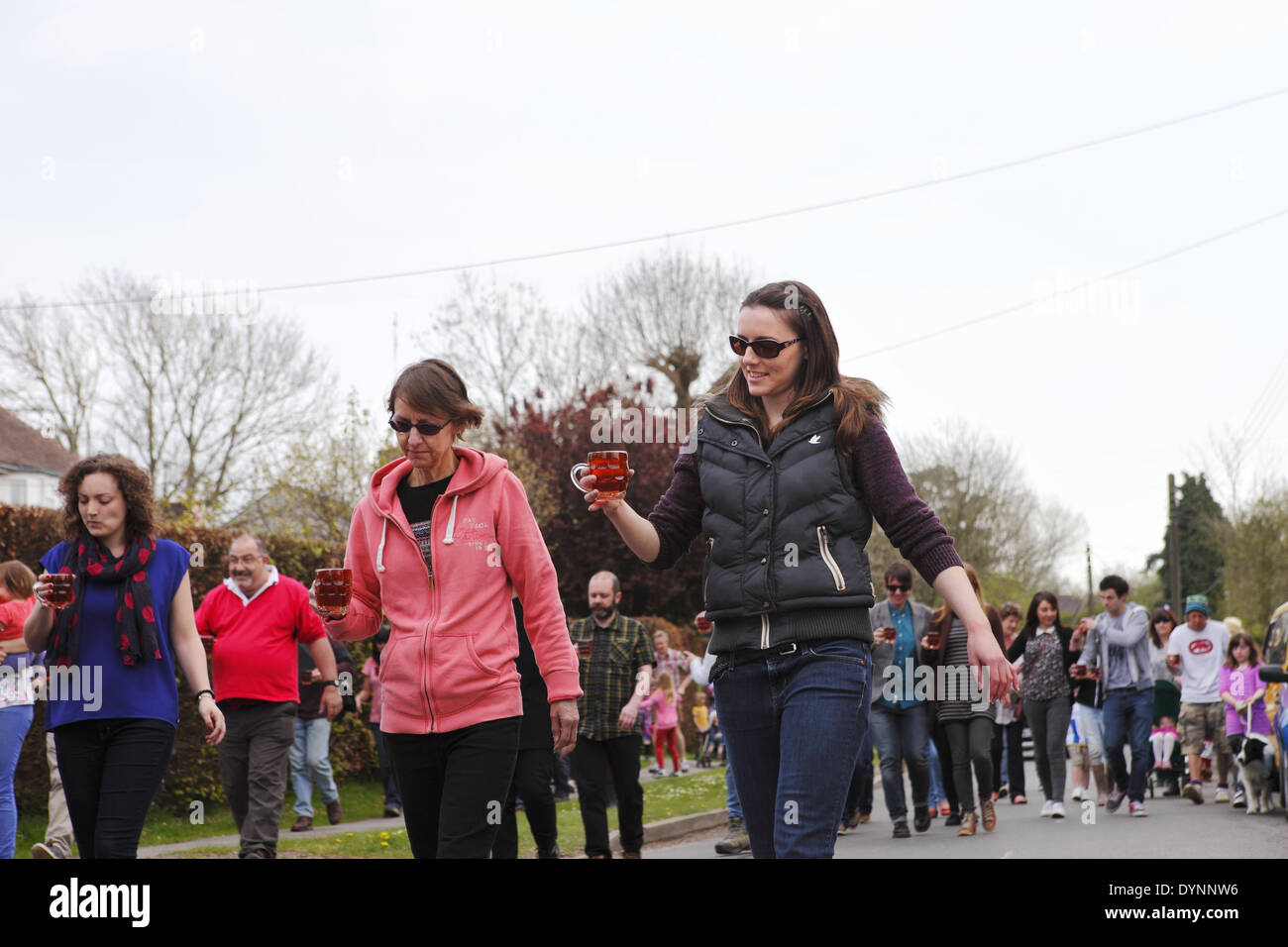 The quirky annual village Tommy Trot Beer Race held Easter Monday at the Laughing Fish Pub in Isfield, East Sussex, Stock Photo