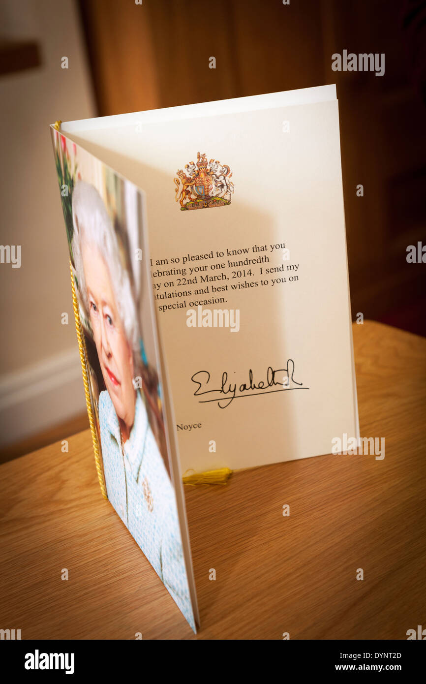 congratulatory telegram on 100th birthday from the queen stock image
