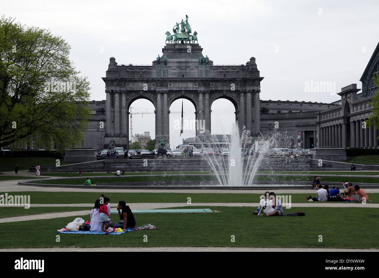 The triumphal arch.Parc du Cinquantenaire.Park of the Fiftieth Anniversary.or Jubelpark.public urban park in Brussels.Belgium. - Stock Image