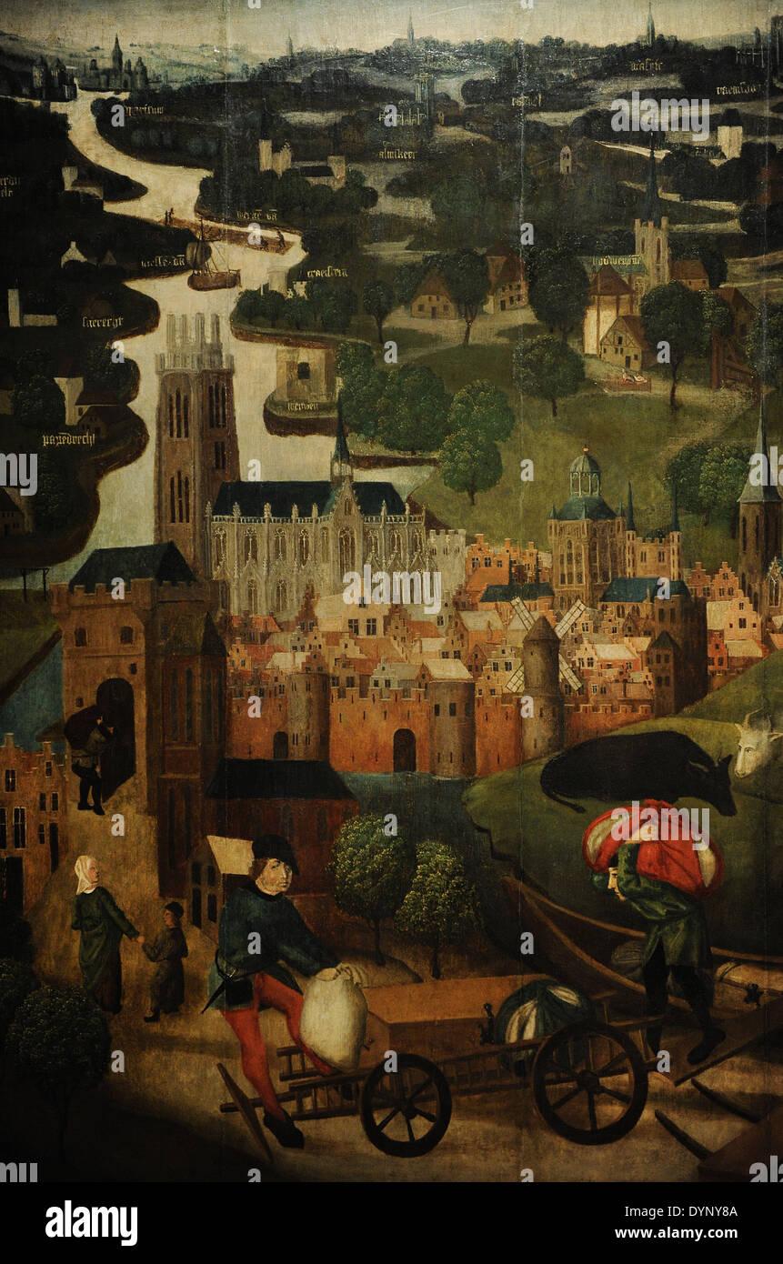 Master of St Elizabeth Panels, 15th century. The Saint Elizabeth's Day Flood, c. 1490-1495. Rijksmuseum. Amsterdam. Holland. - Stock Image