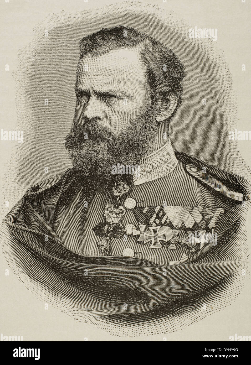 Prince Luitpold of Bavaria (1821-1912). Prince regent and de facto King of Bavaria. Engraving. Universal History, 1885. - Stock Image