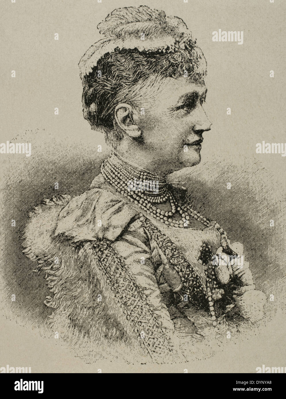 Louise of Hesse-Kassel (1817-1898). Princess and Queen consort of Denmark. Engraving in The Artistic Illustration, 1889. Stock Photo