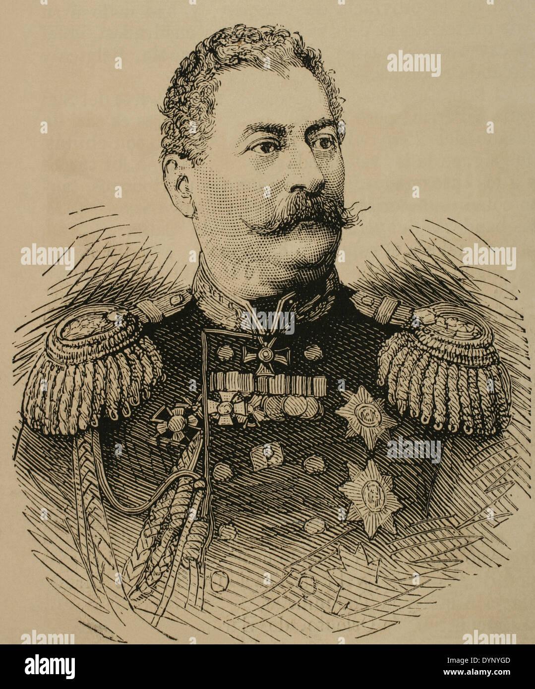 Mikhail Loris-Melikov (1826-1888). Russian-Armenian statesman. Engraving. The Spanish and American Illustration, 1877. - Stock Image