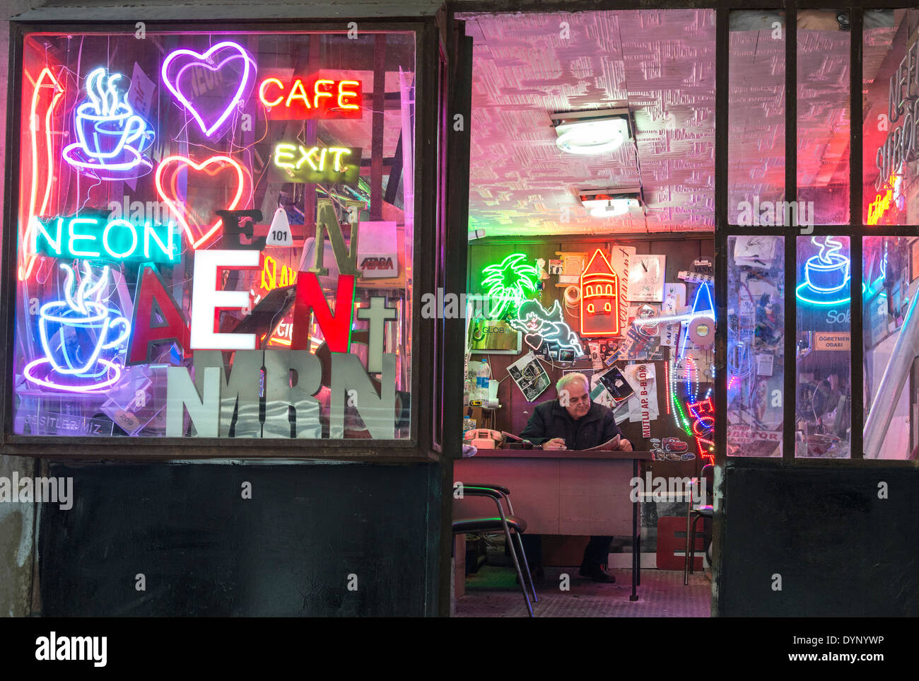 Neon sign makers workshop near Galata Tower, Beyoglu, Istanbul, Turkey. - Stock Image