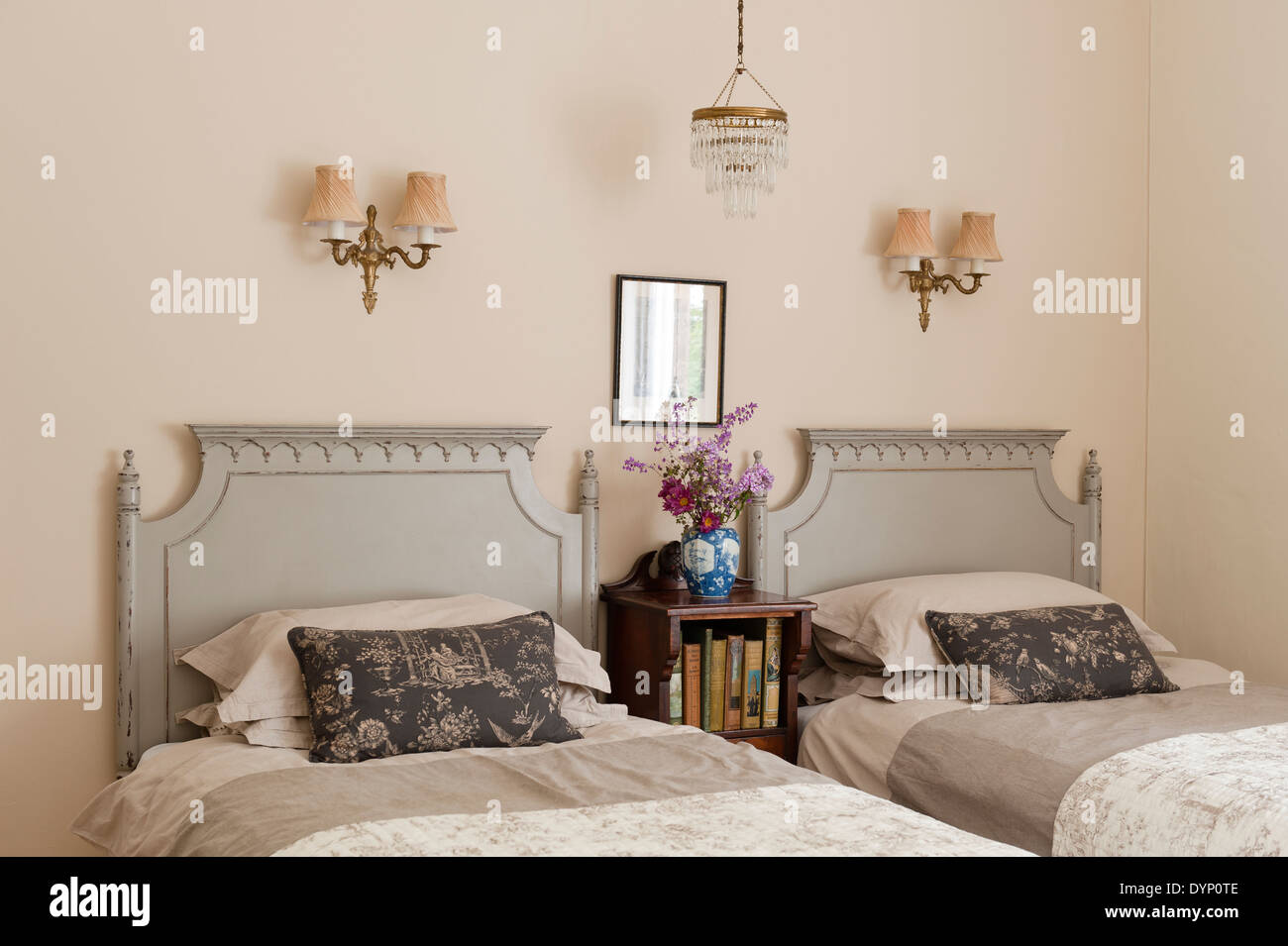 Picture of: Matching Twin Beds With Distressed Wooden Headboards Made Up With Stock Photo Alamy