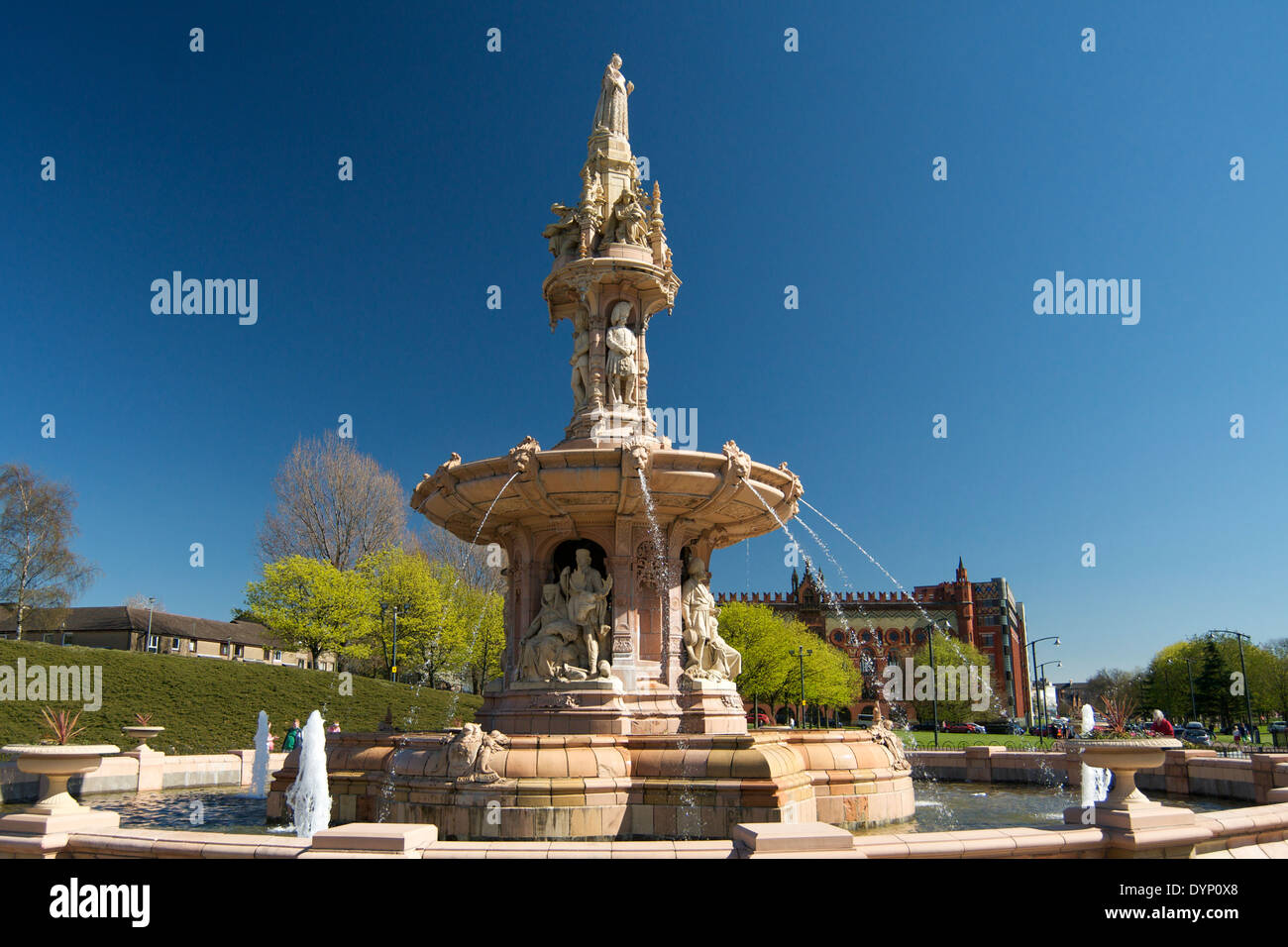 The Doulton Fountain on Glasgow Green, Glasgow. - Stock Image