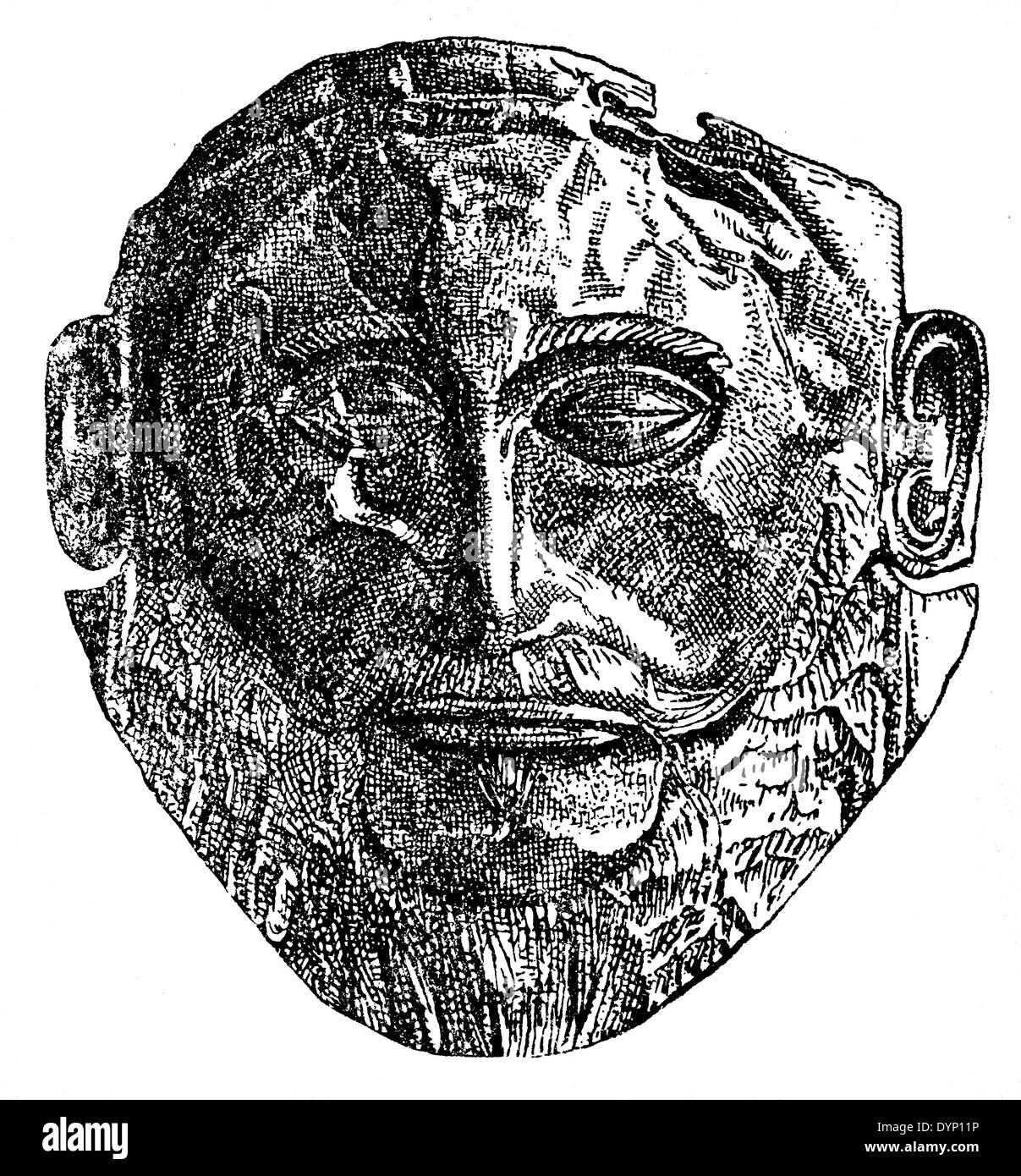 Ancient Greek Mycenaean funeral mask, 'Mask of Agamemnon', illustration from Soviet encyclopedia, 1938 - Stock Image