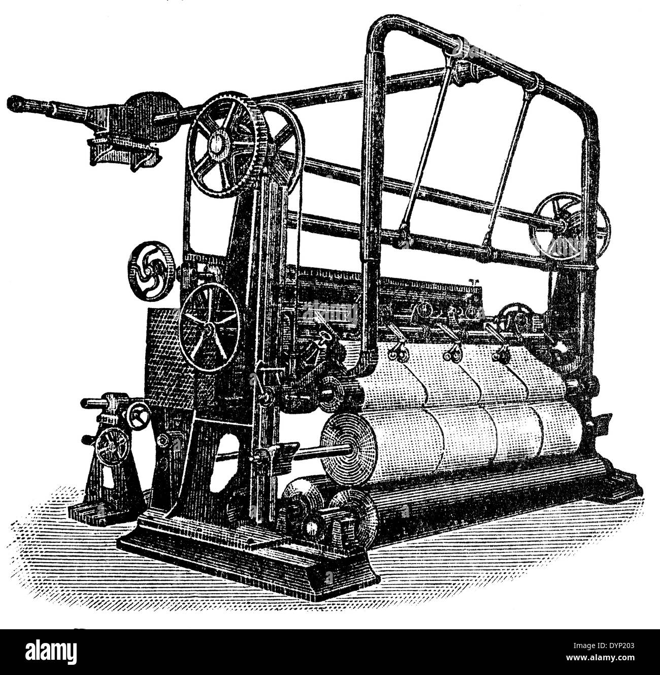Vintage equipment for paper production, illustration from Soviet encyclopedia, 1927 - Stock Image