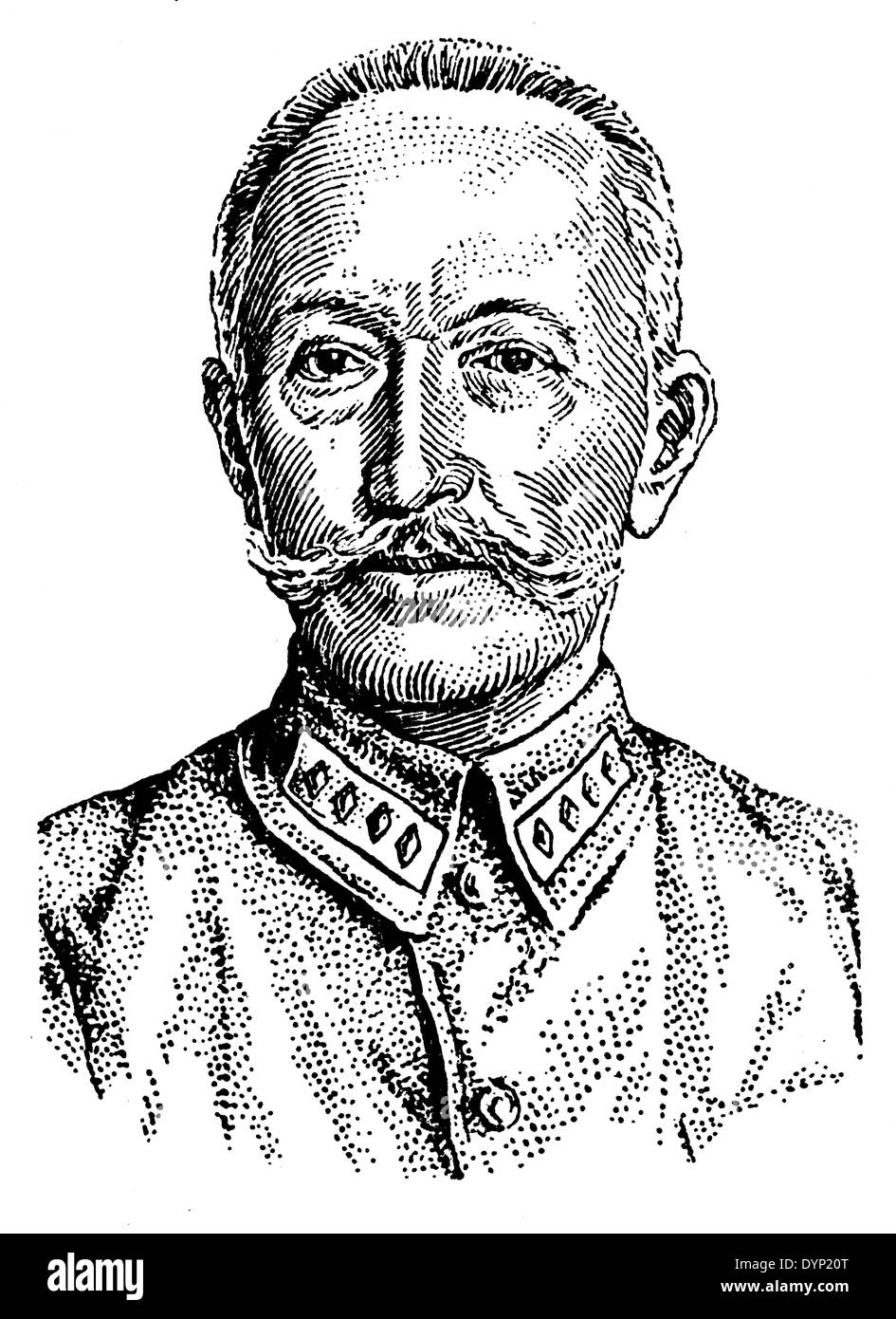 Aleksei Brusilov (1853-1926), Russian cavalry general, illustration from Soviet encyclopedia, 1927 - Stock Image